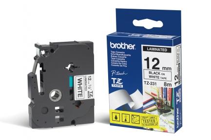 Brother TZ231 Fita Branco/Letras Preto 12mmx8mts