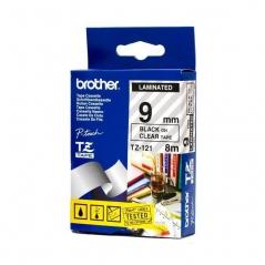 Brother TZ121 Fita Transparente/Letras Preto 9mmx8mts