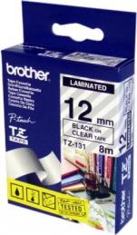 Brother TZ131 Fita Transparente/Letras Preto 12mmx8mts