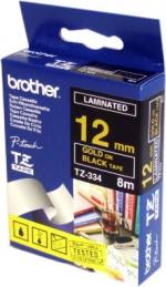 Brother TZ334 Fita Preto/Letras Dourado 12mmx8mts