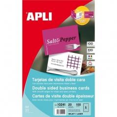 Cartoes Visita APLI10241 85mmx54mm Inkjet Laser Matte (20Fls) 2 Faces 320gr ~Rigido