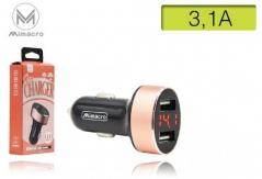 Carregador Auto 2 x USB 3.1A Rosa (Un)