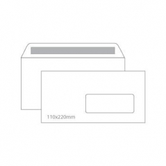 Envelope 110mmx220mm Branco Adesivo C/Janela (Cx500)