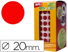 Etiquetas Redondas (20mm) em Rolo Vermelho (Un)
