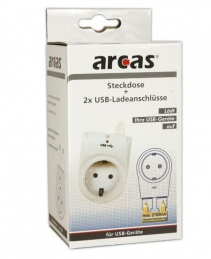 Adaptador c/1 Tomadas Eléctrica + 2 Portas USB (Un)