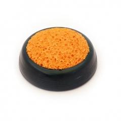 Esponjeira c/ base Plastico Verde » Esponja Laranja Ø6cm(Un)