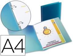 Pasta Plastico c/ 2 Argolas A4 Azul (Un)