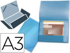 Pasta Plástico Azul A3 c/ Elásticos 3 abas (Un)