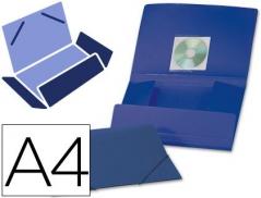 Pasta Plástico Azul Opaco A4 c/ Elásticos 3 abas (Un)