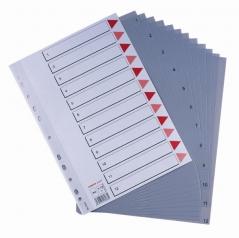 Separadores A4 1-12 Posicoes Plastico Cinzento (Un)