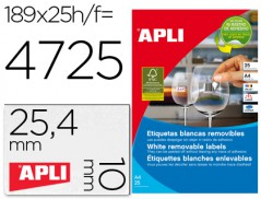 Etiqueta Adesiva APLI Branco 25,4mmx10mm (Removível) (Cx25)