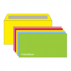 Envelope 110mmx220mm Cores FORTES Sortidas ~90gr (Pack 25)