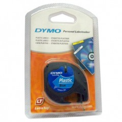 Dymo 91205 Fita Plastico Preto/Azul 12mmx4mt Letratag
