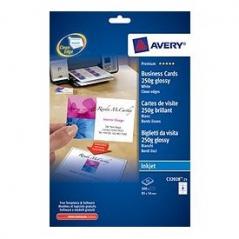 Cartoes Visita Avery 85mmX54mm A4 (80Un) Glossy Jacto Tinta Soft
