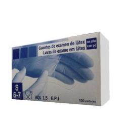 Luvas Latex c/ Pó Super Finas Tamanho (S) 100 (Un)
